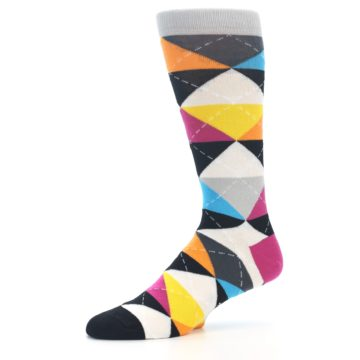 Image of Black Multi-Color Argyle Men's Dress Socks (side-2-10)