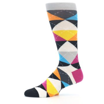 Image of Black Multi-Color Argyle Men's Dress Socks (side-2-11)