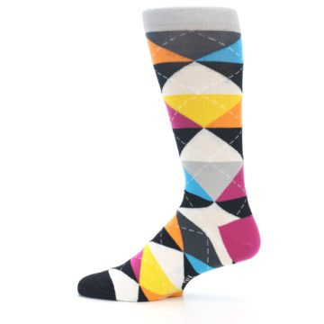 Image of Black Multi-Color Argyle Men's Dress Socks (side-2-12)