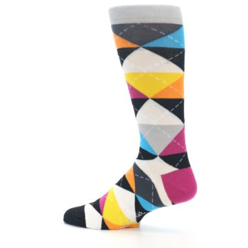 Image of Black Multi-Color Argyle Men's Dress Socks (side-2-13)