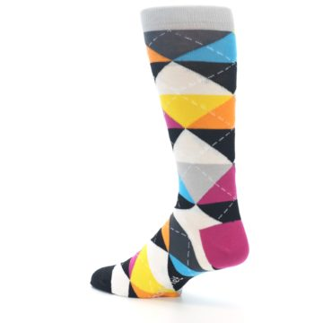 Image of Black Multi-Color Argyle Men's Dress Socks (side-2-back-14)