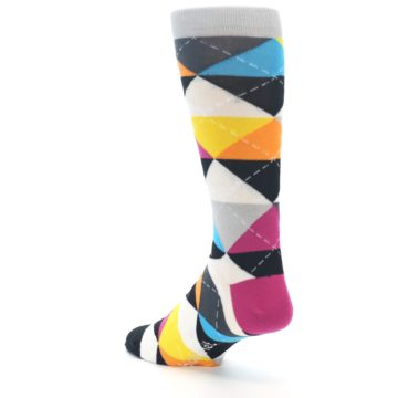 Image of Black Multi-Color Argyle Men's Dress Socks (side-2-back-15)