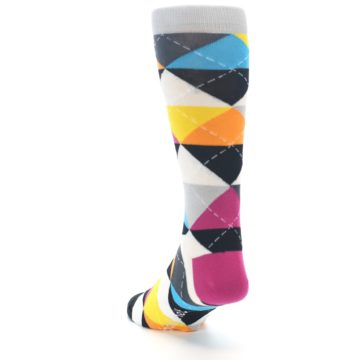 Image of Black Multi-Color Argyle Men's Dress Socks (side-2-back-16)