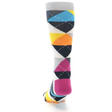 Image of Black Multi-Color Argyle Men's Dress Socks (back-17)