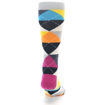 Image of Black Multi-Color Argyle Men's Dress Socks (back-19)