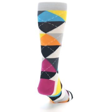 Image of Black Multi-Color Argyle Men's Dress Socks (side-1-back-20)