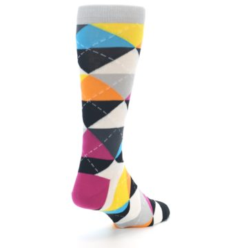 Image of Black Multi-Color Argyle Men's Dress Socks (side-1-back-21)