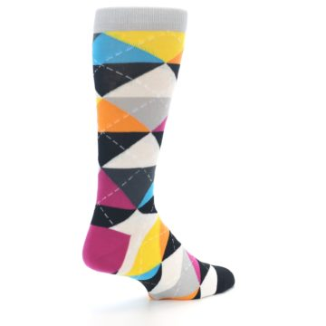 Image of Black Multi-Color Argyle Men's Dress Socks (side-1-back-22)