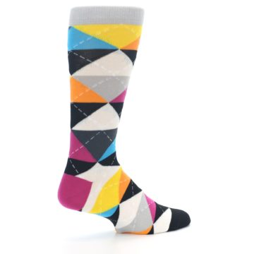 Image of Black Multi-Color Argyle Men's Dress Socks (side-1-23)