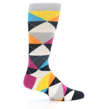 Image of Black Multi-Color Argyle Men's Dress Socks (side-1-24)