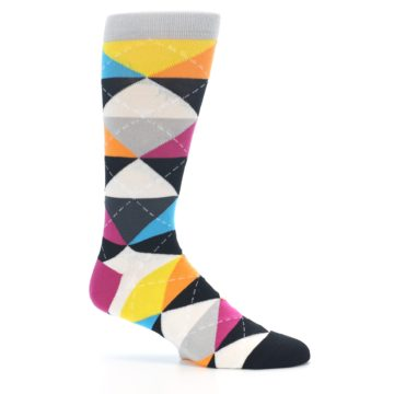 Image of Black Multi-Color Argyle Men's Dress Socks (side-1-25)