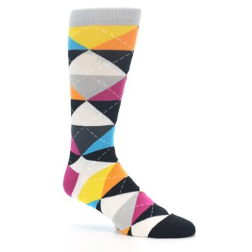 Image of Black Multi-Color Argyle Men's Dress Socks (side-1-26)