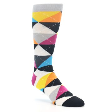 Image of Black Multi-Color Argyle Men's Dress Socks (side-1-27)