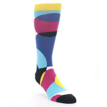 Image of Multi-Color Overlapping Circles Men's Dress Socks (side-1-front-02)