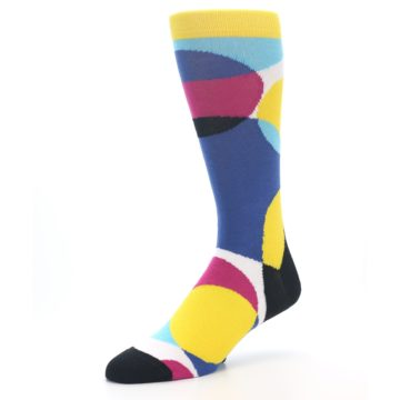 Image of Multi-Color Overlapping Circles Men's Dress Socks (side-2-09)