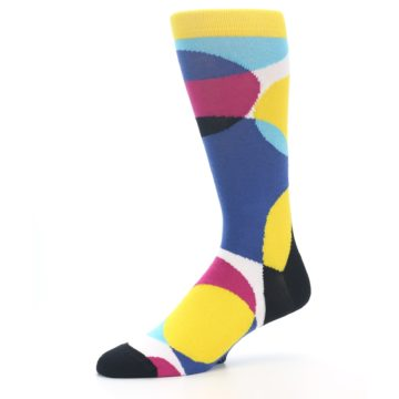 Image of Multi-Color Overlapping Circles Men's Dress Socks (side-2-10)