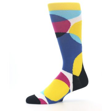 Image of Multi-Color Overlapping Circles Men's Dress Socks (side-2-11)