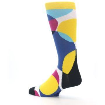 Image of Multi-Color Overlapping Circles Men's Dress Socks (side-2-back-14)