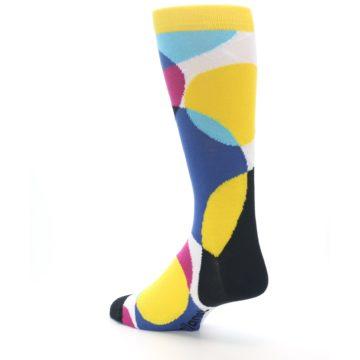Image of Multi-Color Overlapping Circles Men's Dress Socks (side-2-back-15)