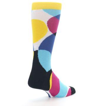 Image of Multi-Color Overlapping Circles Men's Dress Socks (side-1-back-22)