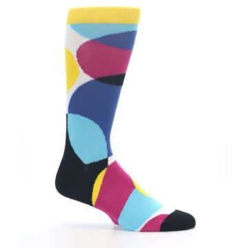 Image of Multi-Color Overlapping Circles Men's Dress Socks (side-1-25)