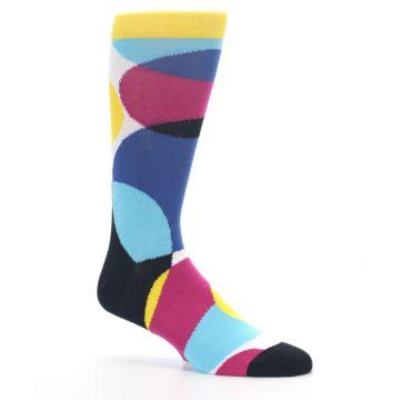 Image of Multi-Color Overlapping Circles Men's Dress Socks (side-1-26)