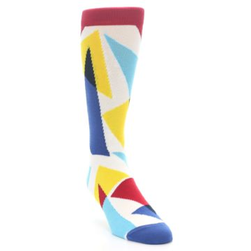 Image of Red Yellow Blue Triangles Men's Dress Socks (side-1-front-02)