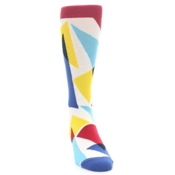 Image of Red Yellow Blue Triangles Men's Dress Socks (side-1-front-03)