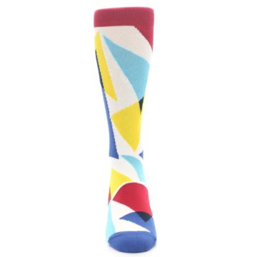 Image of Red Yellow Blue Triangles Men's Dress Socks (front-04)