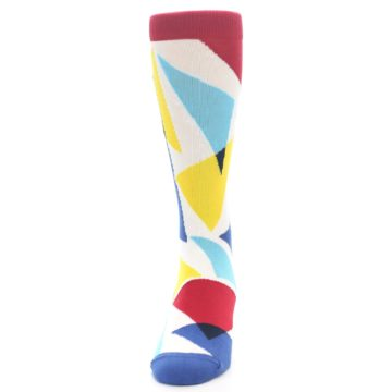 Image of Red Yellow Blue Triangles Men's Dress Socks (front-05)