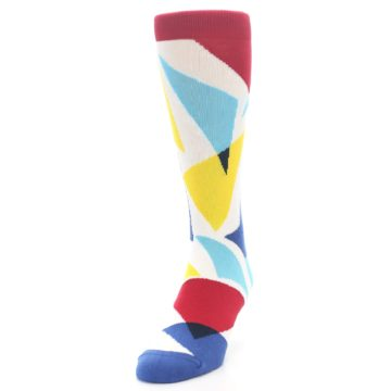 Image of Red Yellow Blue Triangles Men's Dress Socks (side-2-front-06)