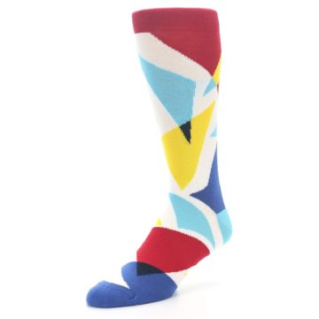 Image of Red Yellow Blue Triangles Men's Dress Socks (side-2-front-08)