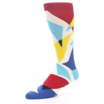 Image of Red Yellow Blue Triangles Men's Dress Socks (side-2-09)