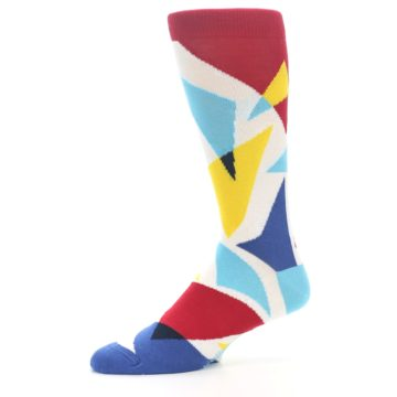 Image of Red Yellow Blue Triangles Men's Dress Socks (side-2-10)