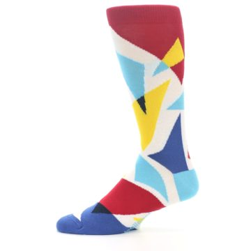 Image of Red Yellow Blue Triangles Men's Dress Socks (side-2-11)