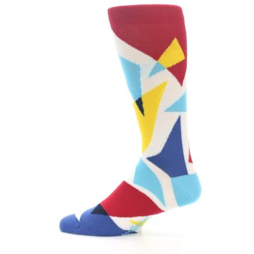 Image of Red Yellow Blue Triangles Men's Dress Socks (side-2-12)