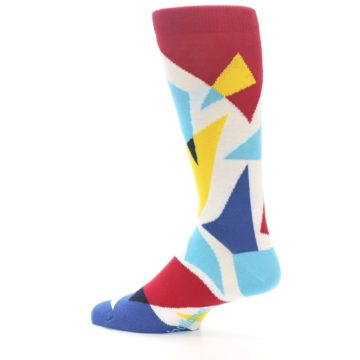 Image of Red Yellow Blue Triangles Men's Dress Socks (side-2-13)