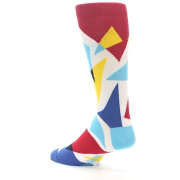 Image of Red Yellow Blue Triangles Men's Dress Socks (side-2-back-14)