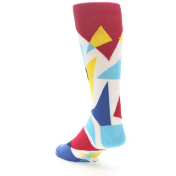 Image of Red Yellow Blue Triangles Men's Dress Socks (side-2-back-15)