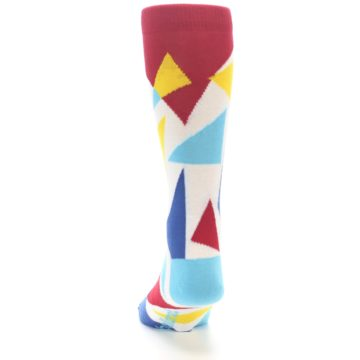 Image of Red Yellow Blue Triangles Men's Dress Socks (back-17)