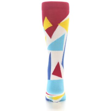 Image of Red Yellow Blue Triangles Men's Dress Socks (back-18)
