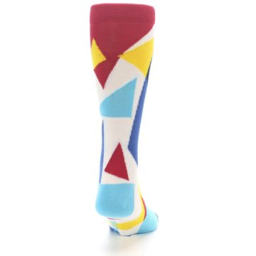 Image of Red Yellow Blue Triangles Men's Dress Socks (back-19)