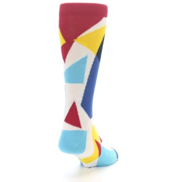 Image of Red Yellow Blue Triangles Men's Dress Socks (side-1-back-20)