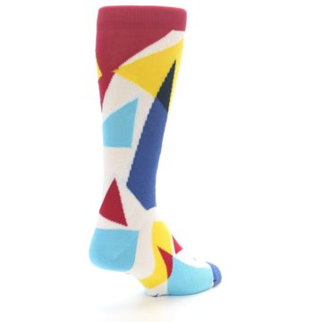 Image of Red Yellow Blue Triangles Men's Dress Socks (side-1-back-21)