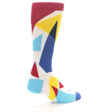 Image of Red Yellow Blue Triangles Men's Dress Socks (side-1-back-22)