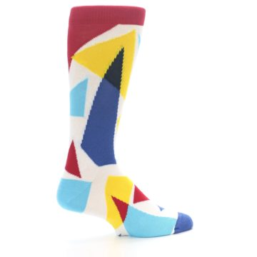 Image of Red Yellow Blue Triangles Men's Dress Socks (side-1-23)