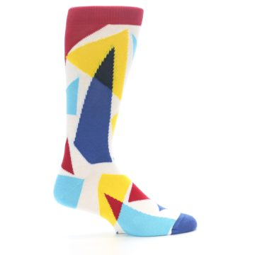 Image of Red Yellow Blue Triangles Men's Dress Socks (side-1-24)