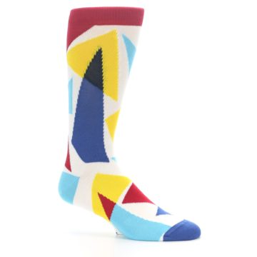 Image of Red Yellow Blue Triangles Men's Dress Socks (side-1-25)