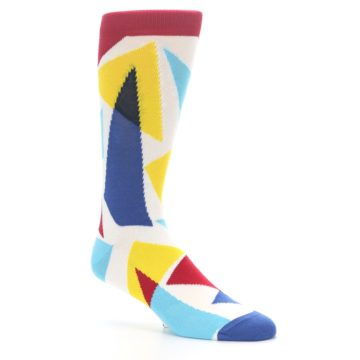 Image of Red Yellow Blue Triangles Men's Dress Socks (side-1-26)