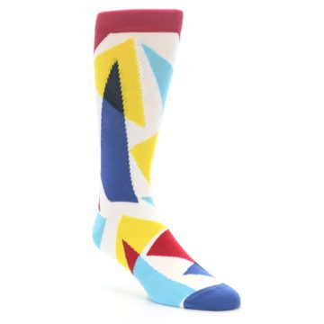 Image of Red Yellow Blue Triangles Men's Dress Socks (side-1-27)